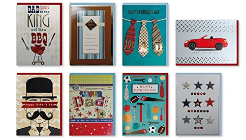 Assorted Handmade Embellished Fathers Day Cards Box Set, 8 Pack Dad Card Assortment Tools, Mustache, BBQ
