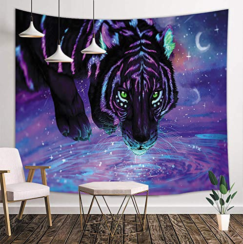 NYMB Tiger Tapestry Wall Handing Hipper Deocr, Mystic Fantasy Galaxy Sky Fantasy Wild Animals in Forest Boho Style, Tapestries Art Blankets Home Decor Bedroom Living Room Dorm, 71X60 Inches