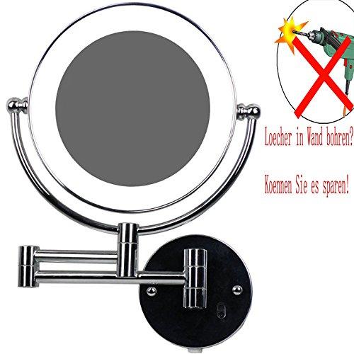 LOYWE LED Beleuchtet wunderschöne Kosmetikspiegel 1+5Fach Infrarot-Sensor (3cm extra dick) hochwertig ohne Bohren LWW58-5-NB