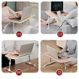 Laptop Desk for Bed, TaoTronics Foldable Laptop Table, Height Adjustable Lap Desk, Portable Bed Desk, Laptop Stand for Lap and Writing, Bed Tray Table for Couch and Sofa – Wood