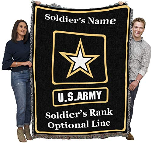 Personalized Army Military Woven Throw Blanket