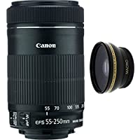 Canon 55-250mm IS STM Lens + High Definition Wide Angle Auxiliary Lens
