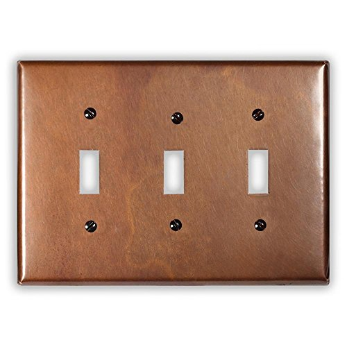 Antique Copper 3 Toggle Wallplate by Copper Ventures