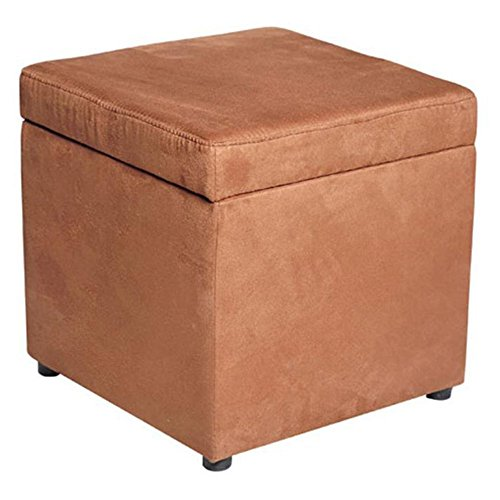 HomCom Square Microfiber Storage Ottoman - Brown