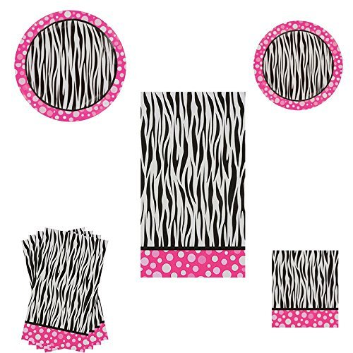 Pink Polka Dot Zebra Print Party Decorations including plates, napkins and tablecloth -