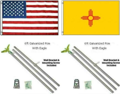 3x5 USA American & State of New Mexico Flag Galvanized Pole