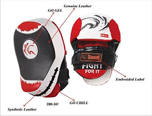 Kango Gladiator Cow Hide & PU Focus Pads,Hook & Jab Mitts,MMA Boxing Kick -047 ()