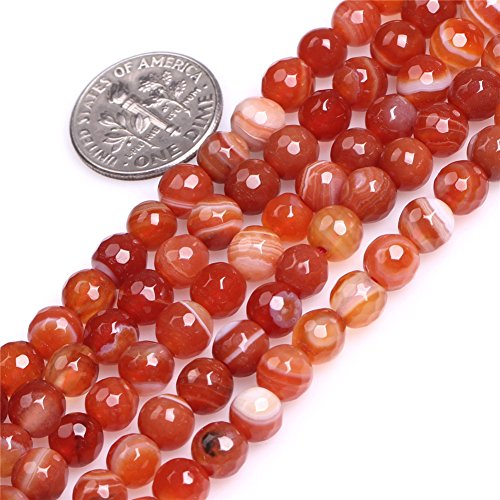Red Striped Onyx Agate Carnelian Beads for Jewelry Making Natural Gemstone Semi Precious 6mm Round Faceted 15