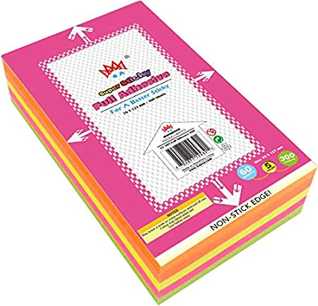 4A Sticky Full Adhesive Notes,3 1//3 x 3 Inches,80 Sheets//Color,Self-Stick Notes,5 Colors//Pack,400 Sheets Total,4A 303-Full Adhesive-400
