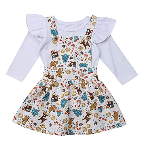 (Fashion Baby Kids Girl Christmas Romper Set Long Sleeves Solid Ruffle Bodysuit +Cartoon Print Tutu Skirts Outfits Set Clothes (Age:6-12 Months, White))