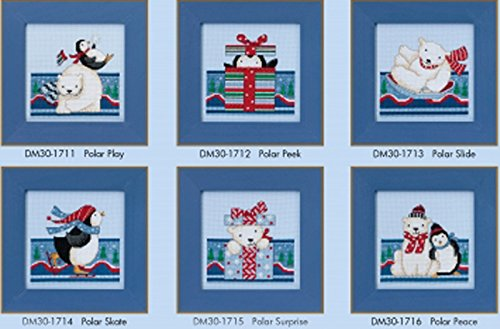Debbie Mumm Polar Opposites Beaded Counted Cross Stitch Kits 2017 Mill Hill (Set of 6: Peace, Peek, Play, Skate, Slide, Surprise) by Mill Hill