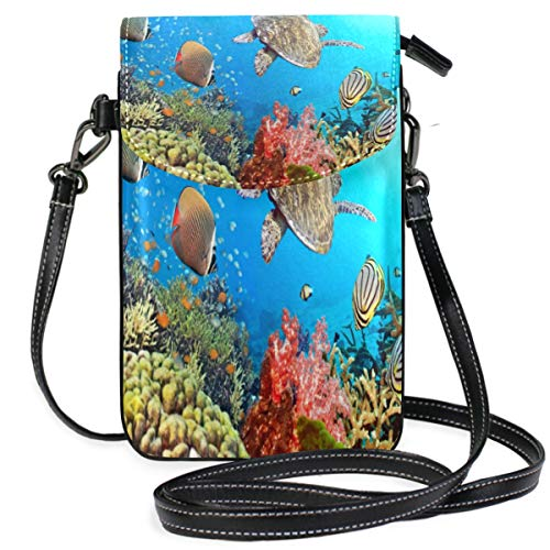 Phone Purse Mini Cell Phone Pouch Colorful Coral Reef Fish Sea Turtle for Women -