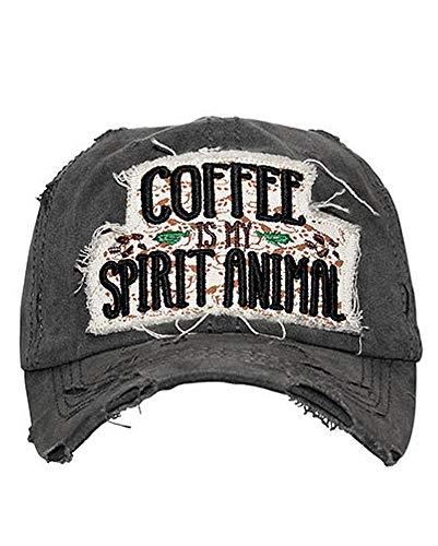 HBS001 Coffee is My Spirit Animal Black Washed Cotton Vintage Baseball Cap