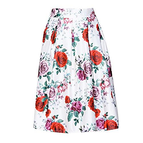 Verano De Flores Rojo Del Vintage Impreso Completo Plisadas Alta Cintura De Las Mujeres Faldas Midi Blanco