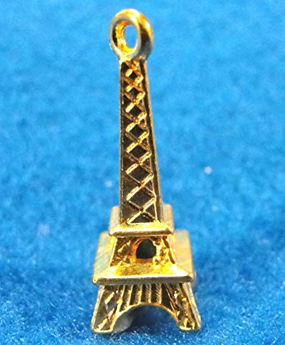 10Pcs. Gold-Plated 3D Eiffel Tower Tibetan Charms Pendants Earring Drops PV22 Crafting Key Chain Bracelet Necklace Jewelry Accessories Pendants