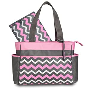 gerber chevron diaper tote bag pink grey white baby. Black Bedroom Furniture Sets. Home Design Ideas