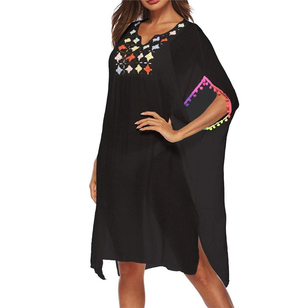 Black Beach Cover Ups Women Beachwear Bathing Suit Beach Dress Bikini Swimsuit Cover Up Dress Bat Sleeve Tassel Crochet Lace Summer Swimwear Sheer Plus Loose Blouse Tops (color   Black, Size   One Size)
