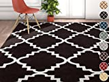 Cheap Harbor Trellis Black Quatrefoil Geometric Modern Casual Area Rug 5×7 ( 5'3″ x 7'3″ ) Easy to Clean Stain Fade Resistant Shed Free Contemporary Traditional Moroccan Lattice Soft Living Dining Room Rug
