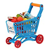 Toddlers Shopping Carts Toy,Toys Kids and Toddler Pretend Play Toy Shopping Cartwith Fruit Vegetable Food Box,Simulation Shopping Trolley Toy , 30.5cm x 27.5cm x 13cm