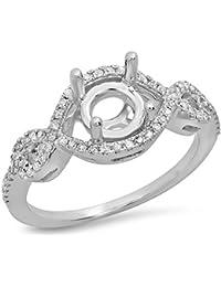 0.25 Carat (ctw) 14K Gold Round White Diamond Swirl Split Shank Bridal Semi Mount Engagement Ring 1/4 CT