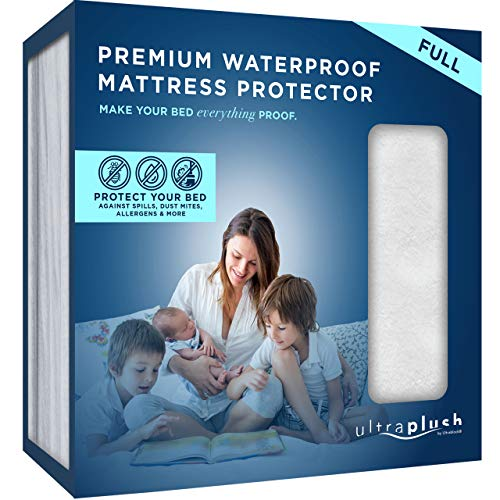 Ultra Plush 100 Waterproof Premium Mattress Protector Luxuriously Soft And Comfortable Protects Against Dust Mites And Allergens Stretchable Deep Pocket Ensures Snug Easy Fit Full Size