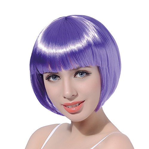 Purple Short Bob Cosplay Flapper Wig-Synthetic Costume Women's Natural Looking Halloween Christmas Party Colorful Bangs Wigs]()