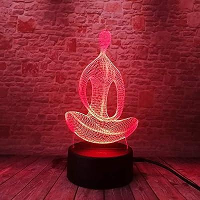 3D 7 Cambio de color de Yoga LED Meditación de Acrílico ...