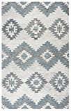 Rizzy Home Leone Collection Tufted Area Rug, Ivory/Gray/Light Blue, 9' x 12'