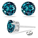 1.94-3.06 Cts of 6 mm AAA Round Russian Lab created Alexandrite Stud Earrings in 14K White Gold