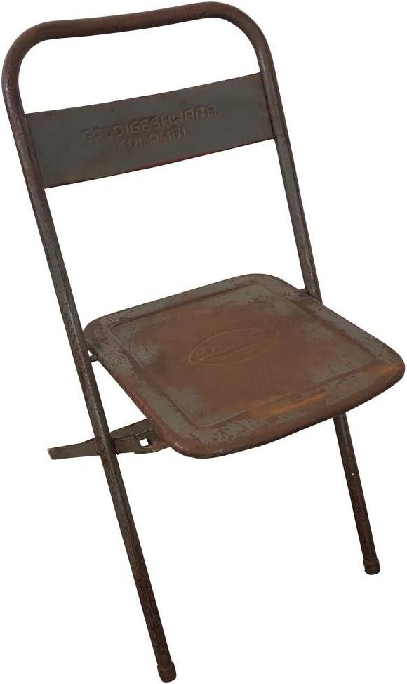 LEBENSwohnART Metall Klappstuhl BARO Antik-Schwarz Vintage Used Look Stuhl Metallstuhl