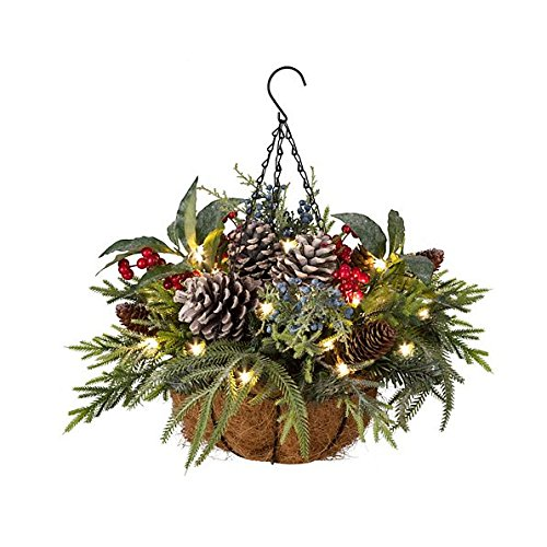 Pre-Lit Natural Christmas Hanging Basket