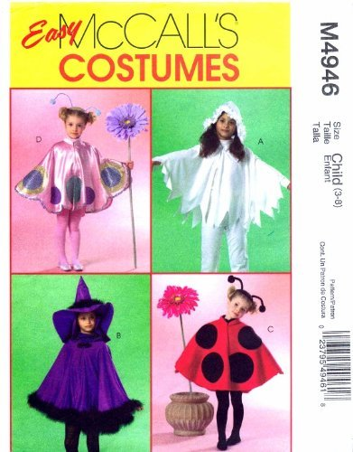 Girls Cape Costumes Ladybug Witch McCall's 4946 Sewing Pattern Size 3 - 8 -