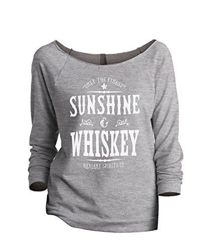 (Thread Tank Sunshine and Whiskey Radiant Spirits Co. Women's Fashion Slouchy 3/4 Sleeves Raglan Sweatshirt Sport Grey Medium)
