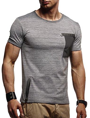 Leif Nelson Herren Sommer T-Shirt Rundhals-Ausschnitt Slim Fit Baumwolle-Anteil Moderner Männer T-Shirt Crew Neck Hoodie-Sweatshirt Kurzarm lang LN1255