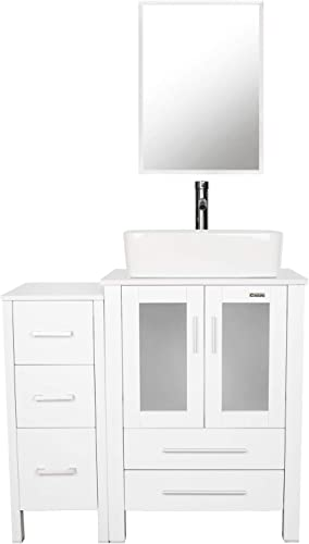 Deal of the week: eclife 36 Bathroom Vanity Sink Combo White W/Side Cabinet Vanity White Ceramic Vessel Sink and Chrome Bathroom Solid Brass Faucet and Pop Up Drain