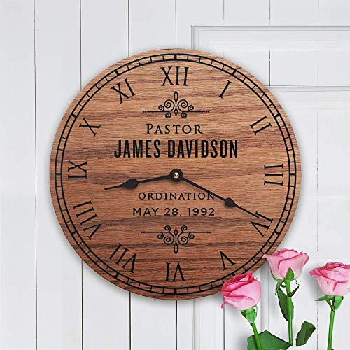(Personalized Solid Oak Clock Pastor Gift - Modern Pastor by Story Cabin)