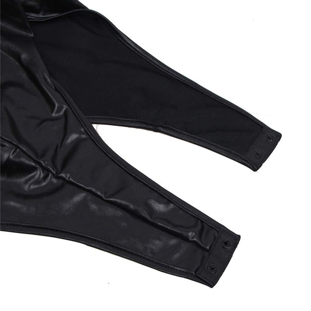 Alalaso Women's Plus SizeLong Sleeve Leather Detail Sexy Bodysuit by Alalaso Sleepwear (Image #5)