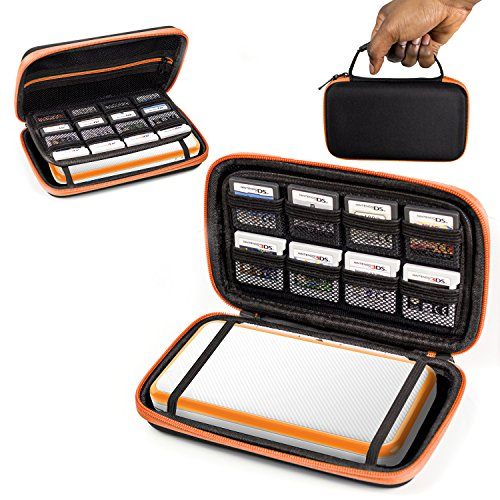 2Ds Xl Case  Orzly Carry Case For New Nintendo 2Ds Xl   Protective Hard Shell Portable Travel Case Pouch For New 2Ds Xl Console With Slots For Games   Zip Pocket   Orange On Black