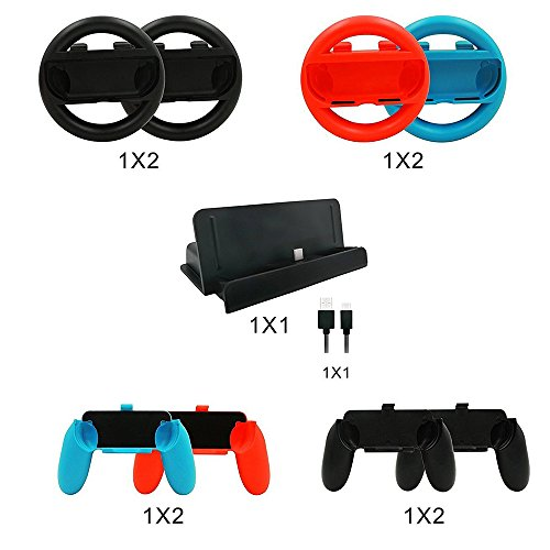 abcGoodefg 10 in 1 Nintendo Switch Accessory Kits Sets, 4x Joy-Con Steering Wheel and 4x Joy Con Grips Handle for Joy-Con Controller, 1x Charging Dock Stand with 1x Type C Cable for Nintendo Switch