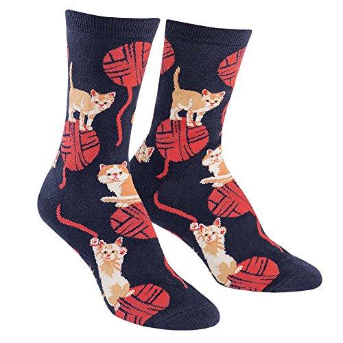 Knitting Kittens - Sock It To Me Women's Crew Socks (Kitten Knitting)