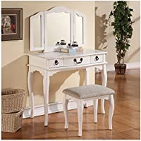 Bowery Hill Mirror Vanity Table with Stool Set in White