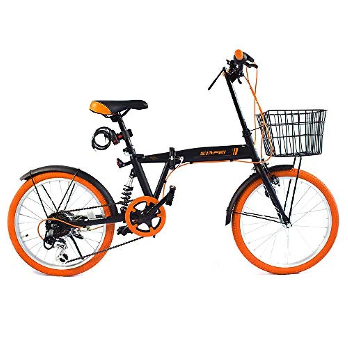 [해외] LUCK STORE 접이식 자전거 20인치 시마노6 단변속 바구니・리어 서스펜션 부착 와이어정・LED라이트의 선물 첨부 와 전후 (자동차 등의) 흙받이 장비 핸들의 높이 조절 할 수 있는 접는 자전거소 경차 미니베로 5 색디자인