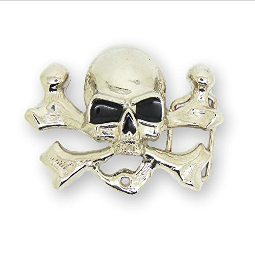 Adult Mens Skull with Bone Western Belt Buckle Silver