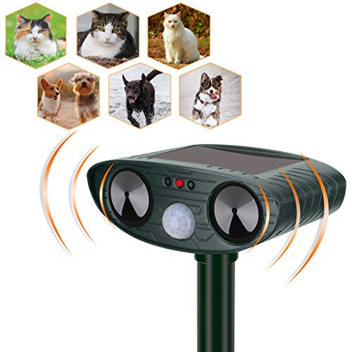 YARDPRO Ultrasonic Cat Repellent Outdoor - Solar Powered Animal Repeller - Non Toxic Dog Repellent, Cat Deterrent Devices, and Deer Repellent