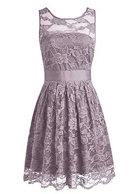 Yougao Women's Floral Lace Dresses Short Bridesmaids Evening Party Dresses