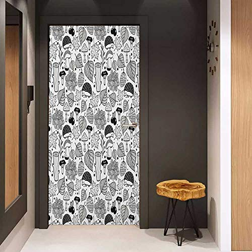 Onefzc Glass Door Sticker Decals Hedgehog Ecological Nature Elements Woodland Pattern Black and White Doodle Composition Door Mural Free Sticker W30 x H80 Black White
