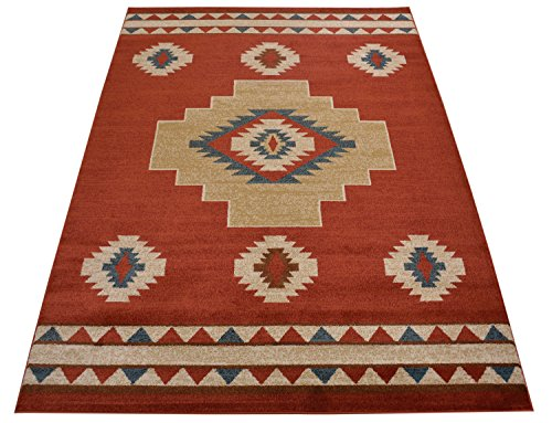 Nevita Collection Southwestern Native American Design Area Rug Southwest Design Rugs Geometric South West Pattern (Tribal Orange (Terra), 5 x 7)