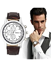 Baishitop Mens Luxury WristWatch Analog Quartz Simple Watch Brown PU Leather