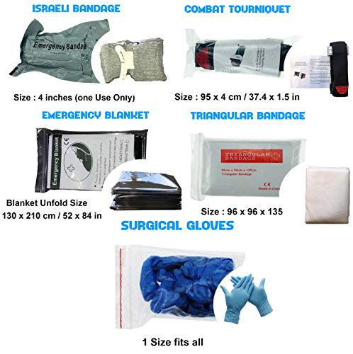 Tourniquet Kit - Military application tactical tourniquets stop hemorrhages. Compression bandage, gloves, triangular bandage, Emergency Blanket. Life-saving first aid outdoor pack