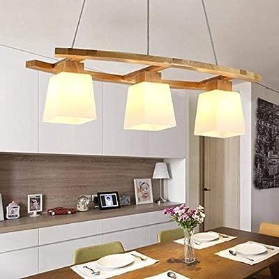 Lámpara colgante ZMH lámpara colgante de mesa de comedor lámpara colgante de madera y vidrio 3xlámpara colgante LED E27 lámpara de techo retro para ...
